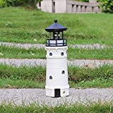 W-DIAN solar lighthouse outdoor decor lawn with Rotating Lamp white