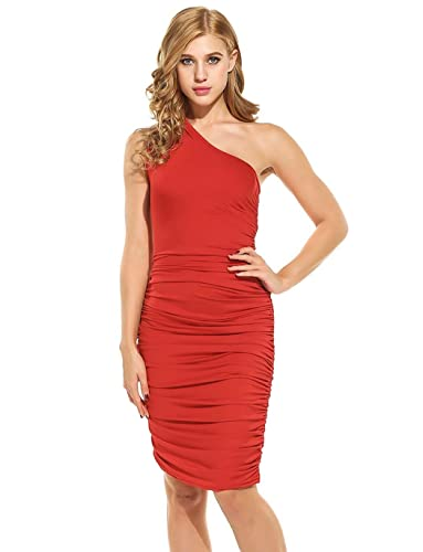 Women Casual One Shoulder Stretch Ruched Bodycon Cocktail Party Club Midi Dress