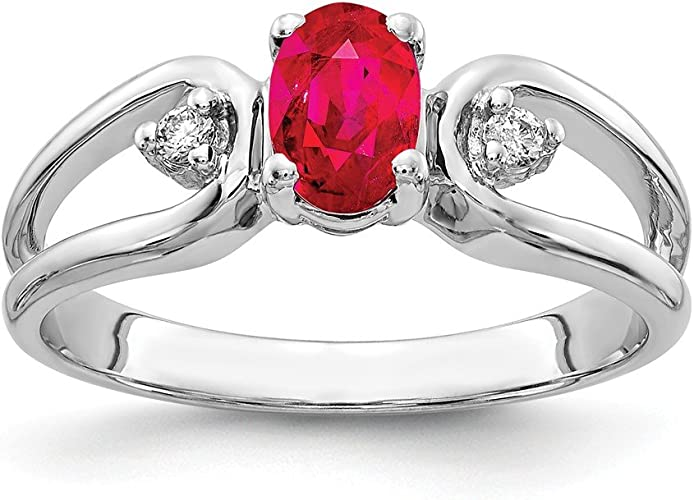 Jewelry Adviser Rings 14k White Gold 6x4mm Oval Created Ruby ring