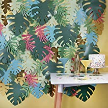 Ginger Ray- Party Backdrop with Coloured Leaves Vida de la isla, Color (IL-709)