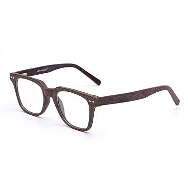Jim Halo Cuadrado Madera Gafas Ópticas Marco Rx-able Bisagras de Resorte Anteojos Para Hombre Mujer Café: Amazon.es: Ropa y accesorios