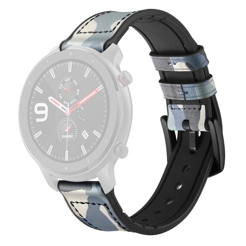 Kuerqi Replacement Bands Accessories for Amazfit GTR 47mm Smart Watch, Fashion Camouflage Print Leather Replacement Watch Wrist Straps Compatible with Amazfit GTR Fits for Women Men Boys Girls by Kuerqi