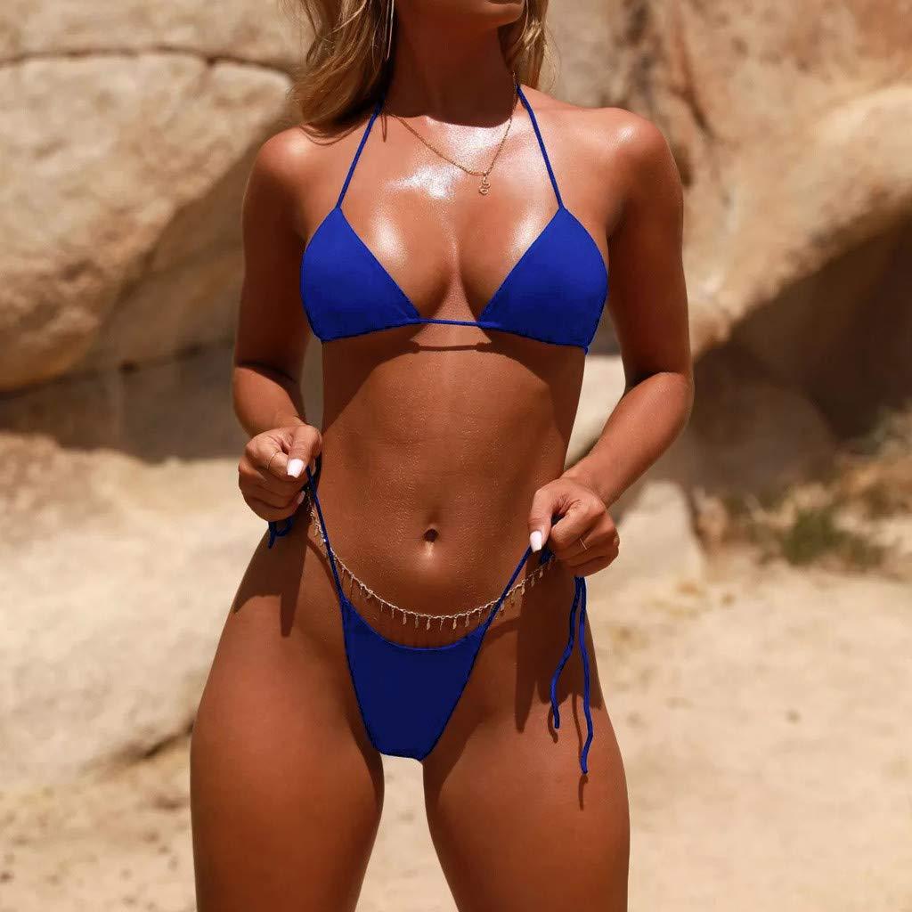 99010b9d2f Sunfei Women Bandeau Bandage Bikini Set Push-Up Brazilian Swimwear  Beachwear Swimsuit: Clothing