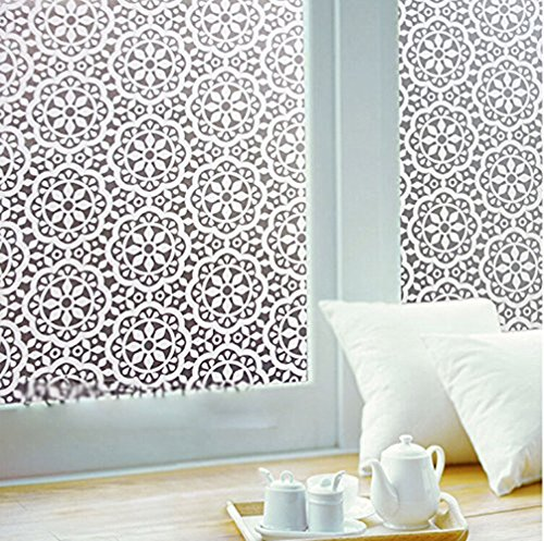 Coavas Decorative Privacy Window Film Paper Sticker 17.7''x78.5'' Snowflake Characteristics Decorative Flower Decal Panel