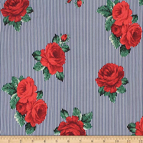 Telio Playtime Cotton Poplin Floral Stripe Red Fabric, Navy, Fabric By The - Cotton Poplin Floral Skirt