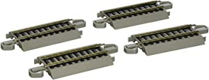 """Bachmann Trains - Snap-Fit E-Z TRACK 3"""" STRAIGHT TRACK (4/card) - NICKEL SILVER Rail With Gray Roadbed - HO Scale"""
