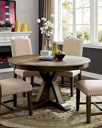 William's Home Furnishing CM3014RT Julia Dining Table, Oak (Oak Dining Round Pedestal Table Cottage)