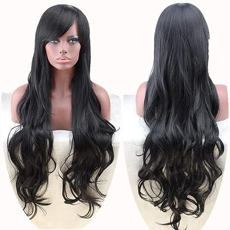 WADEO Peluca larga y rizada, Pelucas de cabello largo y rizado completo para mujeres Nuevo cabello largo natural con flequillo (Negro)