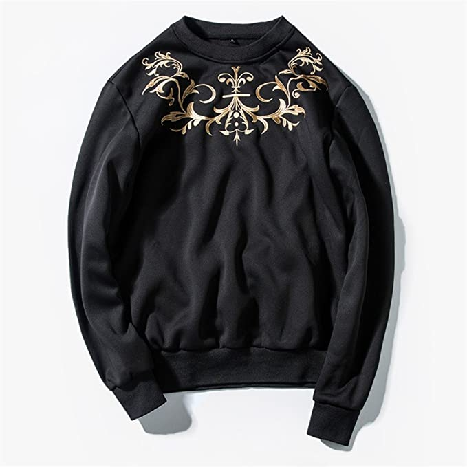 ZQ@QXLos hombres suéter y moda jersey de manga larga del ventilador untar,negro