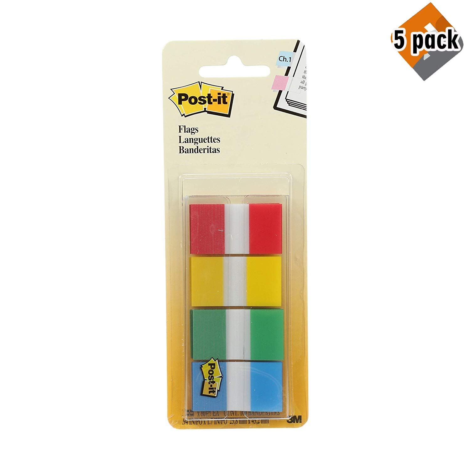 Post-it Flags, Assorted Primary Colors.94 in. Wide, 80/On-The-Go Dispenser, 2 Dispensers/Pack, (680-RYGB2) - 5 Pack by Post-it