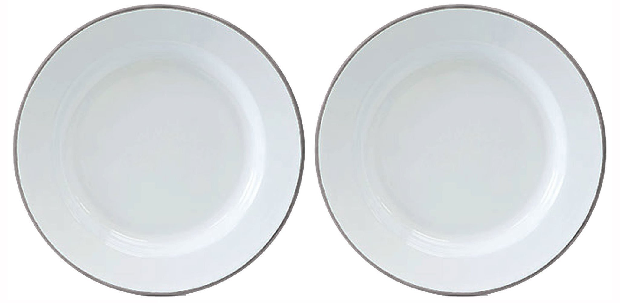 Crow Canyon Set of 2 Enamelware Dinner Plates White with Grey Rim, 10.25 Inches in Diameter By 1 Inch Tall.
