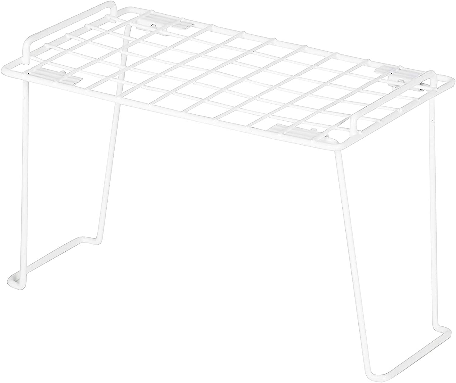 Smart Design Stacking Shelf w/Sturdy Legs - Small - Steel Wire Frame - Rust Resistant Coating - for Counter, Pantry, Shelf Organization - Kitchen (12 x 7 Inch) [White]