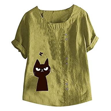 Camisa de algodón y Lino con diseño de Gatos, Corte en O, para ...
