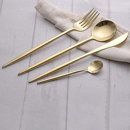 Juego de vajilla de acero inoxidable Juego de cubiertos de lujo Tenedor Cuchillo Cucharas Juego Cuchillo