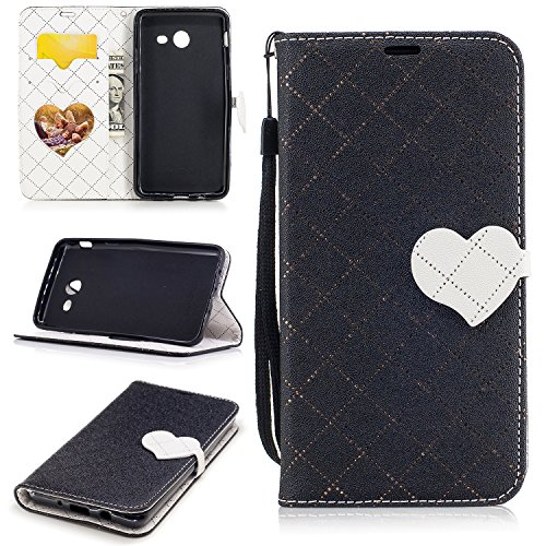Galaxy J5 2017 Case, Easytop Love Heart Design Faux Leather Flip Credit Card Holder Wristlet Shockproof Protective Wallet Case for Samsung Galaxy J5 2017 (Elegant Boston Bag)