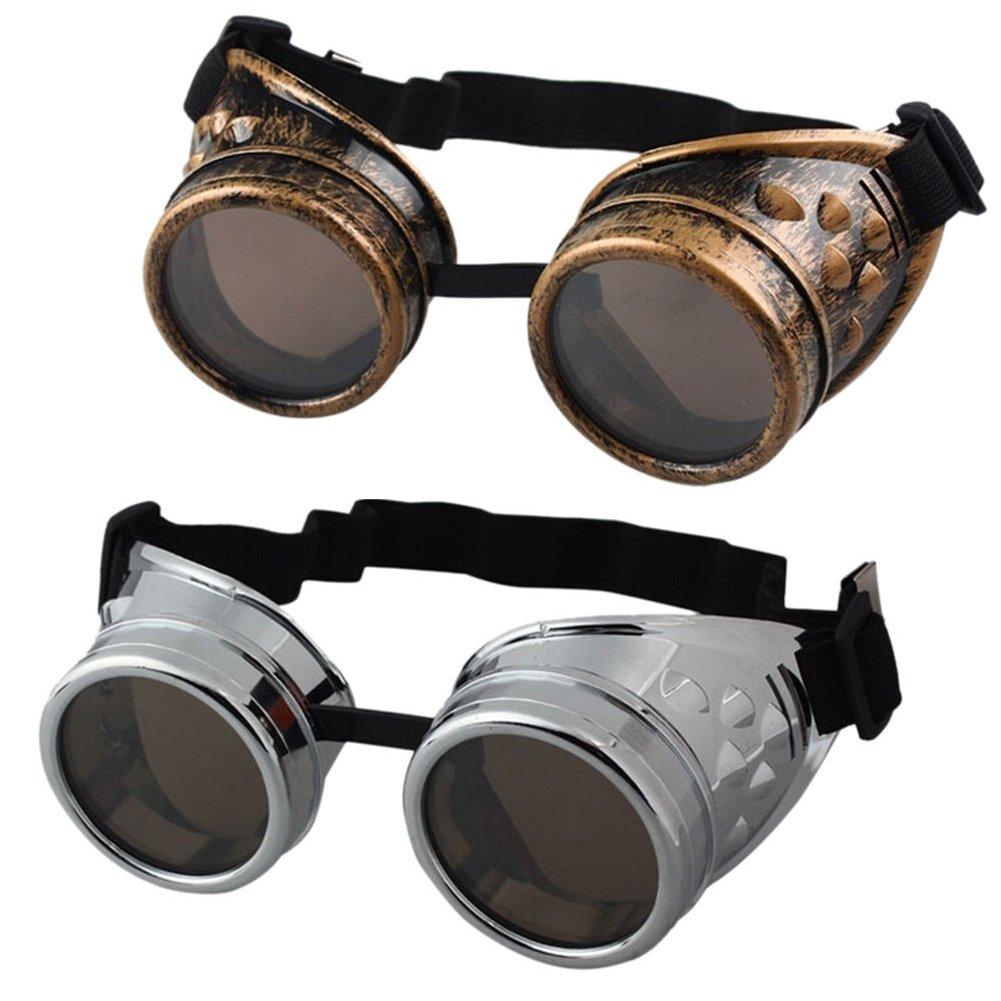 Buytra Vintage Steampunk Goggles 2 Pack, Victorian Retro Steampunk Goggle Cyberpunk Goggles for Women, Men, Kids