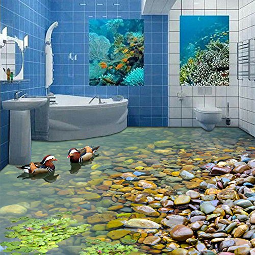 300cmX250cm Chinese Style Mural Wallpaper Pool Stone Mandarin Duck Photo Wall Paper Waterproof For Bathroom PVC Wear Self-adhesive Material by ZLJTYN