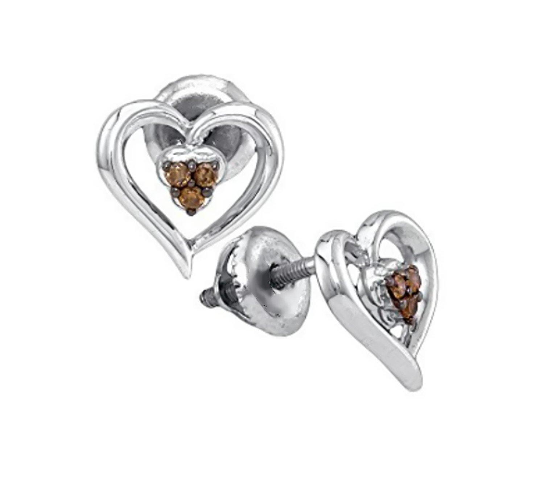 Silver Brandy Diamond Chocolate Brown Lovely Heart Earrings 1/12 Ctw.
