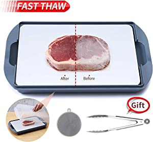 GEMITTO Defrosting Tray, Round Thawing Plate for Faster Defrosting, Gifted with Drip Tray, Dust-proof Lids, Food Tong and Silicone Brush, Quicker Safer Way to Defrost Frozen Meat Pork Beef Fish(6mm)