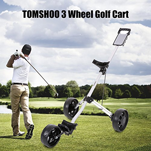 TOMSHOO 3 Wheels Golf Push Cart Foldable Aluminum Pull Cart Trolley with Footbrake System by TOMSHOO (Image #1)