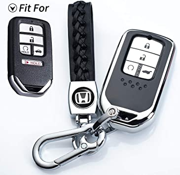 Key Fob Case for Honda Accord Civic CRV Pilot Odyssey Passport Smart Premium Soft TPU Full Cover Protection Smart Remote Keyless Key Fob Shell COMPONALL for Honda Key Fob Cover Silver