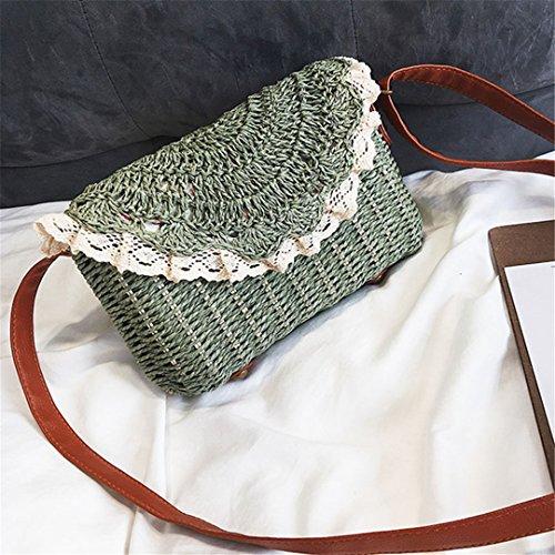 Bolsas De Paja De Las Mujeres del CordóN Bolso Femenino del DíA De Fiesta SeñOra del Verano Weave Shoulder Bag Travel Casual Ss3150 Yellow Green