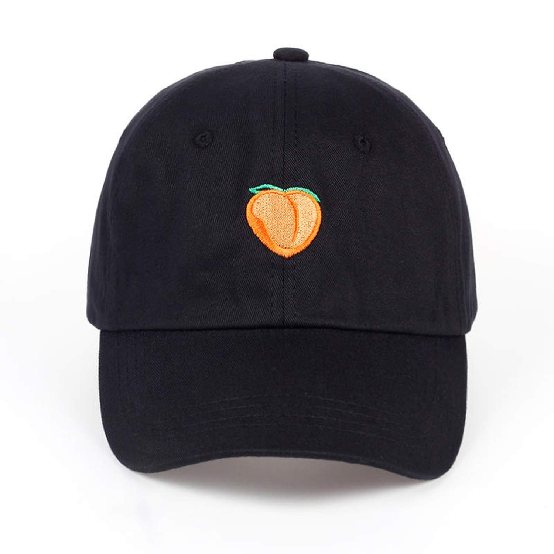 2019 Pure Color Cotton Cap Peach Embroidery Baseball Cap Fashion Men and Women Adjustable Sun Hip hop hat