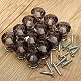KINGSO 12pcs Acrylic Crystal Door Drawer Knob Handle Black