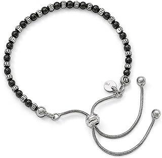 Argent sterling Ruthenium-plated Taille diamant Bracelet réglable