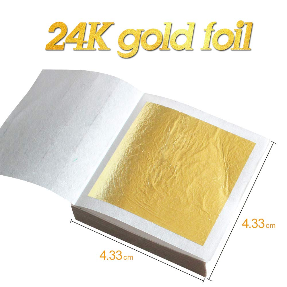 Edible 24K Gold Leaf Sheets 100 pcs 4.33 x 4.33 cm Pure Genuine Facial Edible Gold Leaf for Cooking, Cakes & Chocolates, Decoration, Health & Spa (100 Sheets) by KINNO (Image #1)