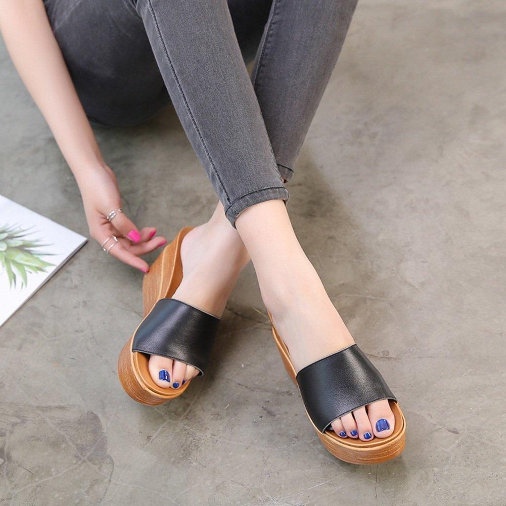 PENGFEI Pantofola Zapatillas Verano Hembra Fondo Grueso Cuña Retro Playa, Altura del Talón 8.5CM, 2 Colores (Color : Negro, Tamaño : EU38/UK5.5/US7/240) EU38/UK5.5/US7/240|Negro