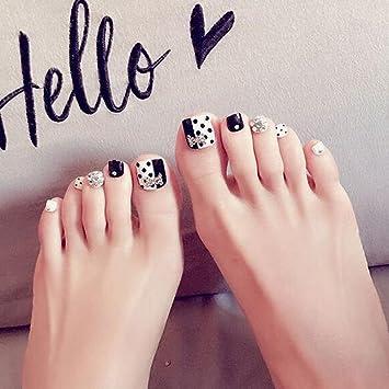 Dongcrystal 24 PCS Bling Black And White Fake Toe Short False Nails With Rhinestone Artificial Nail