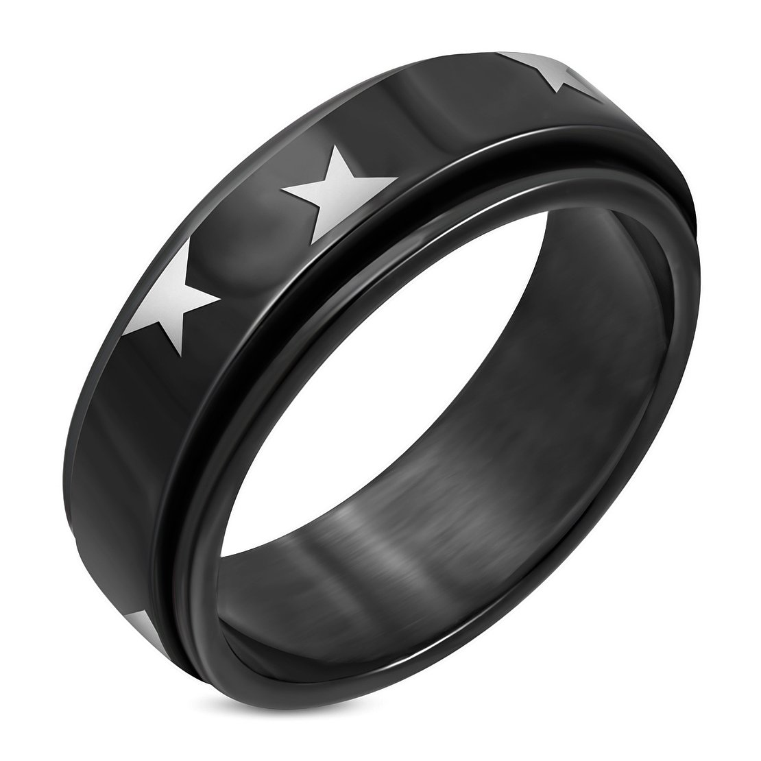 Stainless Steel Black 2 Color Star Spinning Flat Band Ring