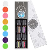 Faurora Essential Oil Necklace Gift Set, Tree of Life Aromatherapy Diffuser Necklace with 4 Aroma Oils 10ML (Rose…