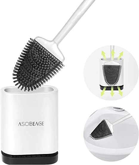 Toilet Brush with Holder Silicone Toilet Bowl Brush and Holder Set with Non-Slip Long Handle Flat Flexible Bristles Deep Cleaning Toilet Cleaner Brush for Bathroom Grey