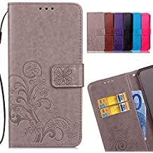 LEMORRY Wiko Lenny3 Max Case Leather Flip Cover Wallet Pouch Soft TPU Slim Fit Bumper Stand Protective Magnetic Strap with Card Slot, Lucky Clover Gray