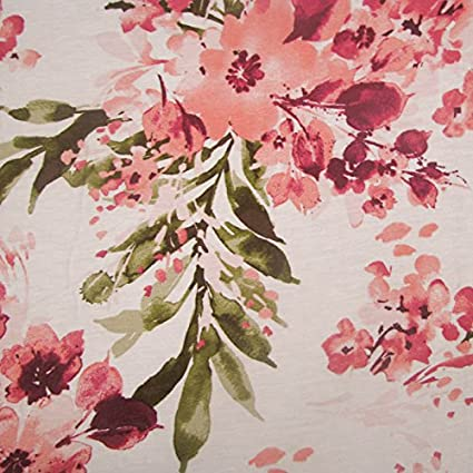 39121f1d5eb Image Unavailable. Image not available for. Color: OffWhite Coral Flowers  Printed on Rayon Spandex Jersey Knit Fabric