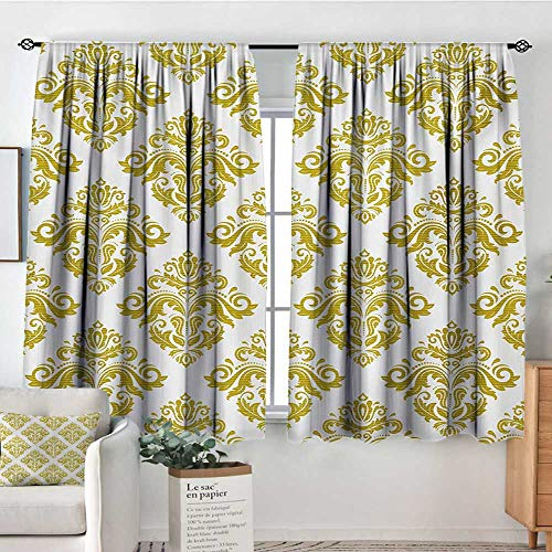 Mozenou Damask Waterproof Window Curtain Traditional Floral Victorian Design in Square Shape Antique Art Print Waterproof Window Curtain 63