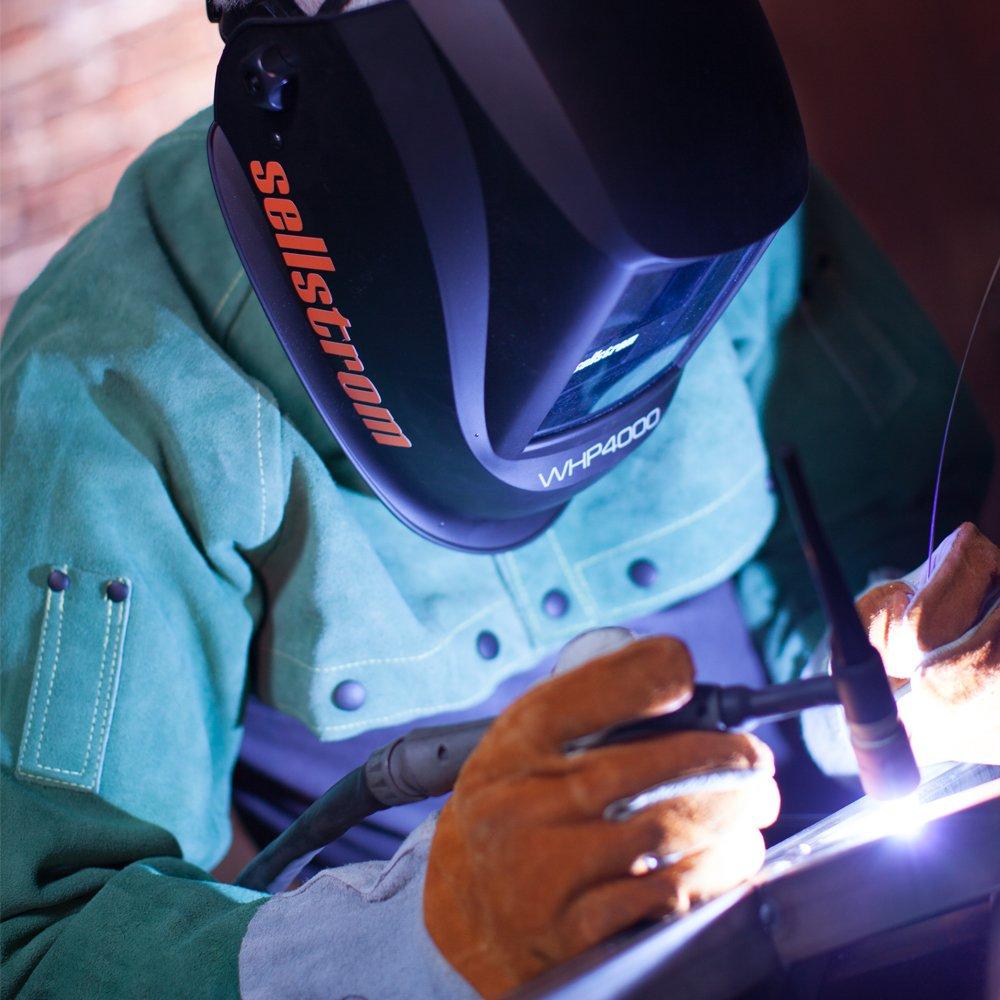 Sellstrom S26400 Premium Series Welding Helmet with Extra Large Blue Lens Technology ADF Black//Orange