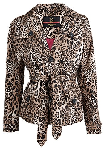 Leopard Trench (Dollhouse Teens Womens Classic Cotton Lapel Spring Trench Jacket - Leopard Print (Medium))