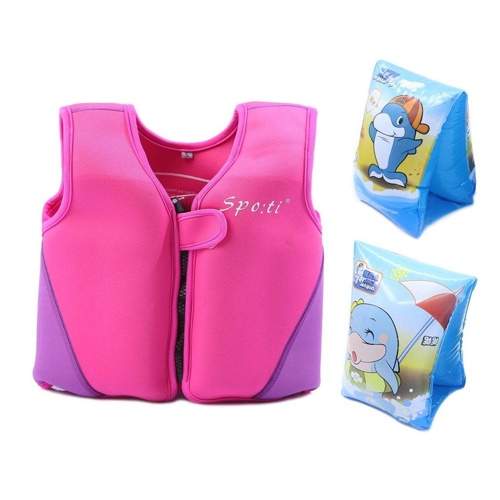 Genwiss子供のSwimスモールライフジャケット1 – 2年ピンクInclude Swimアームバンド B01E6WYNL4