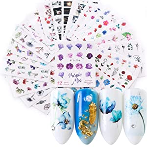 Nail Stickers for Nail Art Flowers Butterfly Nail Art Stickers Water Transfer Nail Decals Nail Decorations for Nails Supply Watermark DIY Colorful Art Foils for Nails Design Manicure Tips 24 Sheets