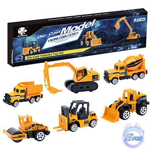 Elongdi Die-Cast Construction Vehicle Toys Set, 6 Mini Cars Gift Pack Boys Toys Vehicles, Dump Truck Forklift Road Roller Wheel Loader Backhoe Excavator Cement Mixer, Vehicles Toys for Kids Boys Girls
