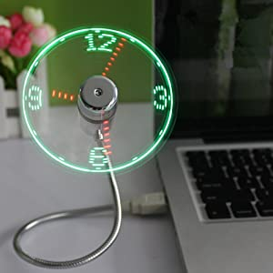 TAKSON USB LED Clock Fan Portable USB Fan with Clock Green LED Light Display Real Time Mini Gooseneck Fan for Laptop PC