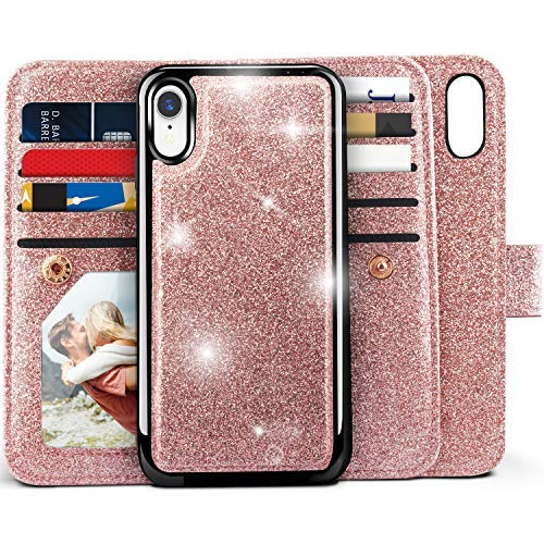 (iPhone XR Wallet Case, Miss Arts Detachable Magnetic Slim Case with Car Mount Holder, 9 Card/Cash Slots, Magnet Clip, Wrist Strap, PU Leather Cover for Apple iPhone XR 6.1