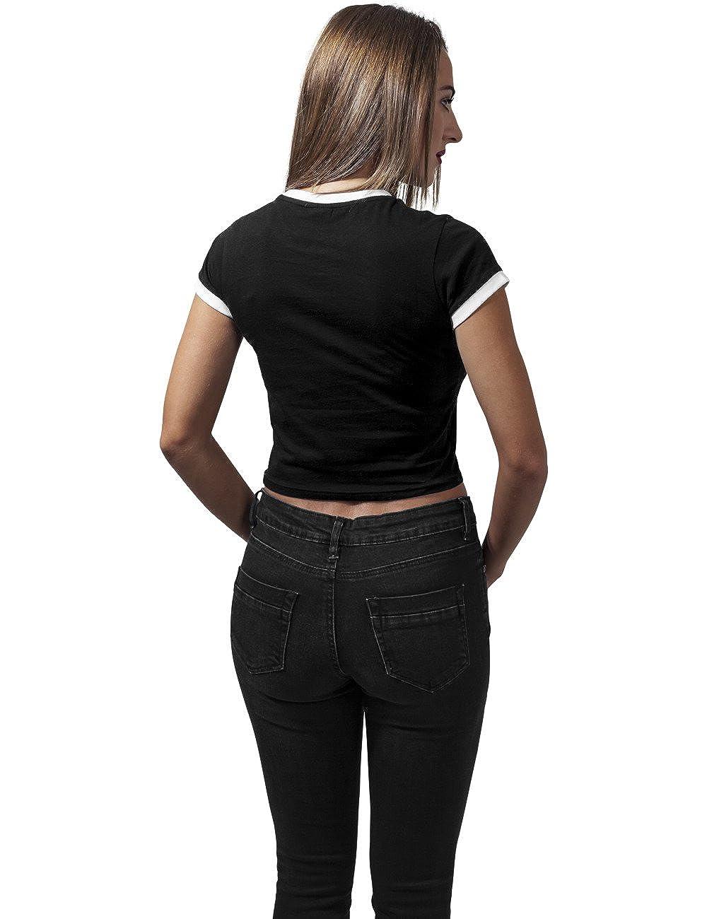Urban Classics Ladies Cropped Ringer Tee T-Shirt Donna