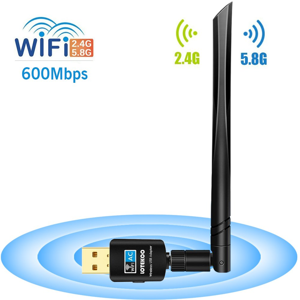 LOTEKOO USB WiFi Adapter 5dBi Antenna, 600Mbps Dual Band (2.4G/150Mbps+5G/433Mbps) Wireless Network Card Adapter for Desktop Laptop PC Windows 10/8.1/8/7/XP/Vista, MAC OS 10.4-10.13