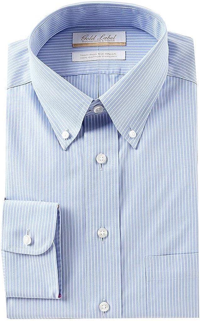 Gold Label Roundtree /& Yorke Non-Iron Regular Button Down Stripe Dress Shirt S85DG024 Blue