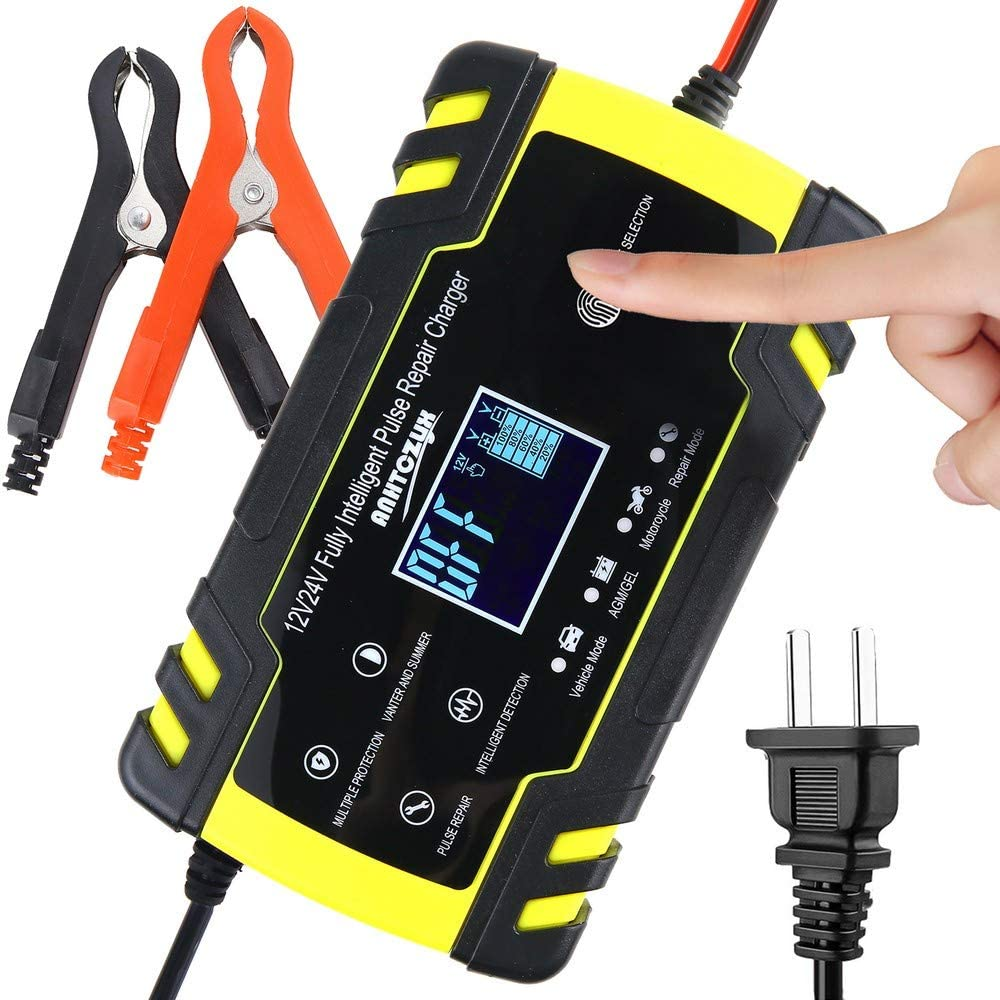 IEIK 12V 8Amp 24V 4Amp Automotive Smart Battery Charger Maintainer for Car, Truck, Boat, Motorcycle, Lawn Mower, Truck, SUV, RV, ATV and More (Yellow)
