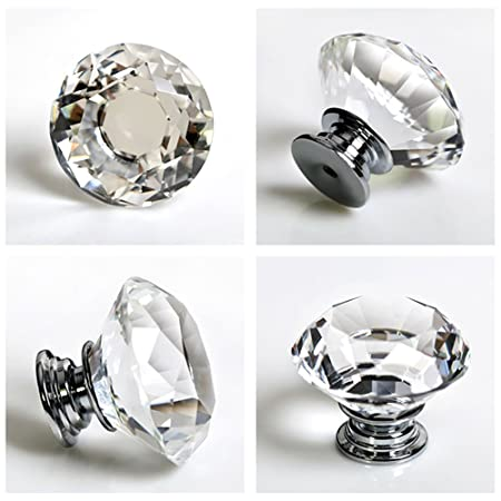 8pcs top 31mm crystal diamante crystal glass diamond shaped door